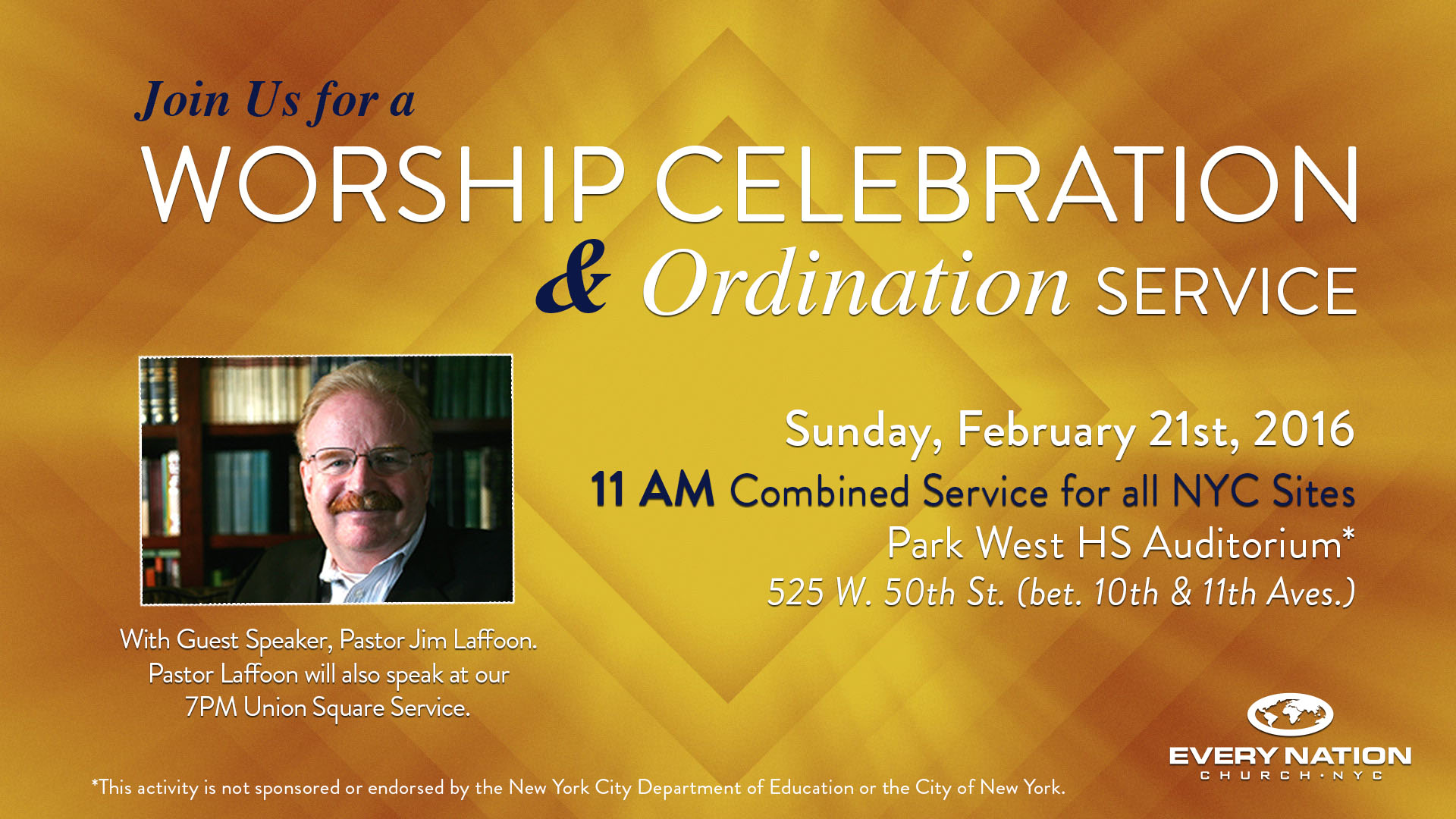 All Site Worship and Ordination Service – Sunday, Feb. 21st at 11AM