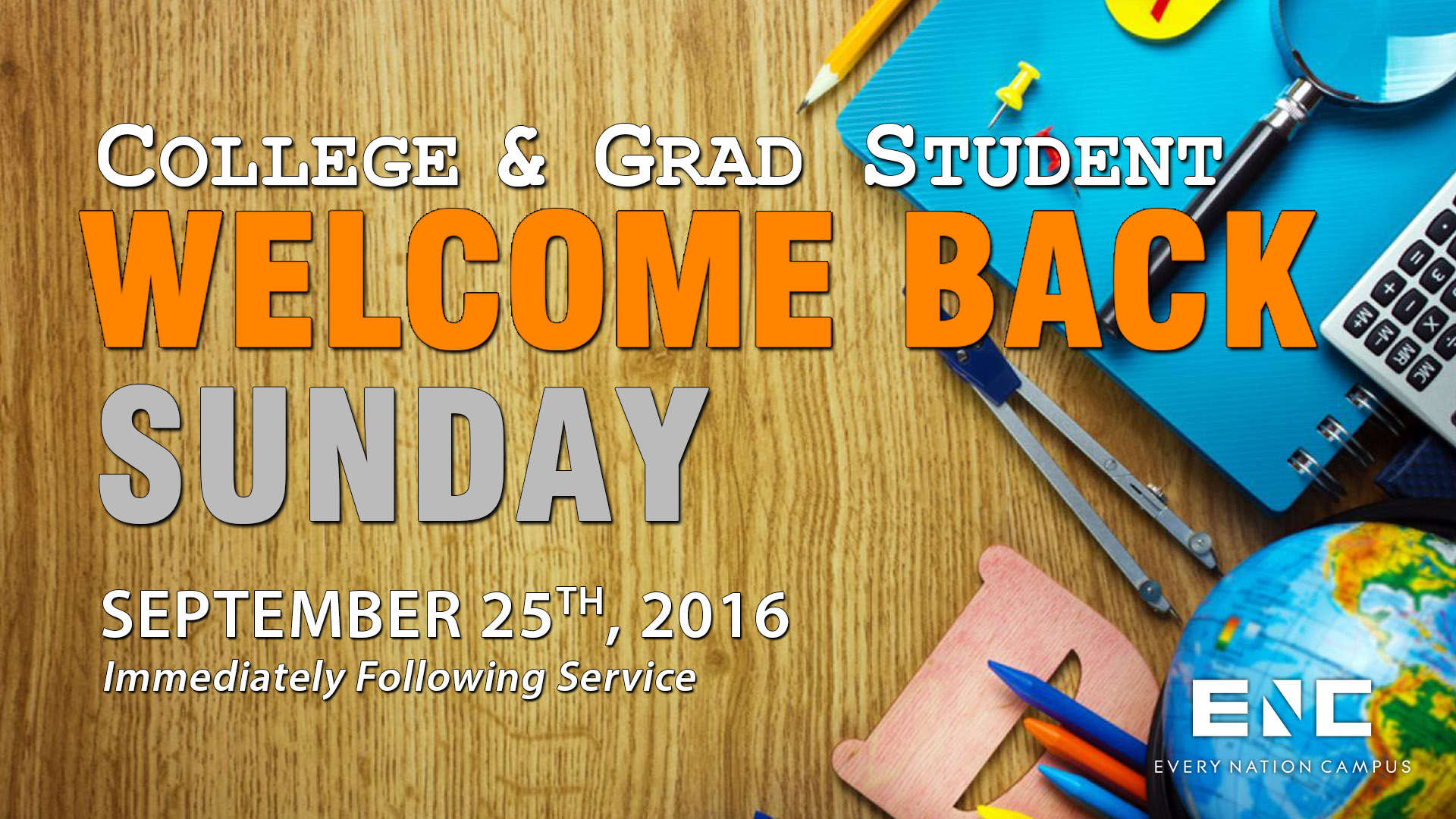 College & Grad Student Welcome Back Sunday